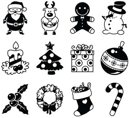 Set of Christmas minimalistic icons Vector