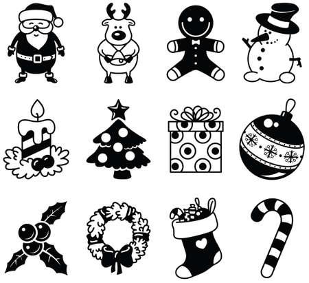 black berry: Set of Christmas minimalistic icons