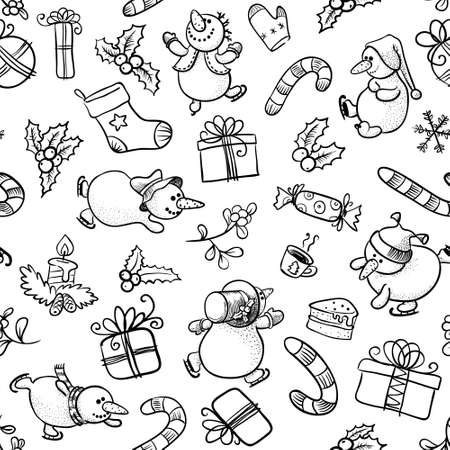 Black and white Christmas seamless with Snowman Vector