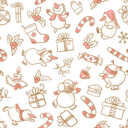 Doodle Christmas seamless with Snowman Stock Vector - 16407047