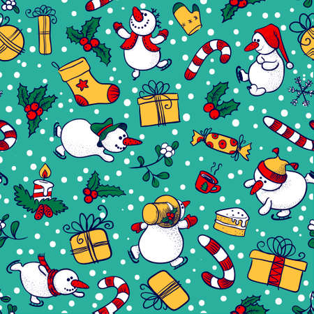 Doodle Christmas seamless with Snowman Stock Vector - 16407050