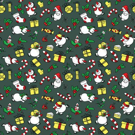 Doodle Christmas seamless with Snowman Vector