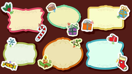 Vintage Frames and Christmas labels Stock Vector - 16407049