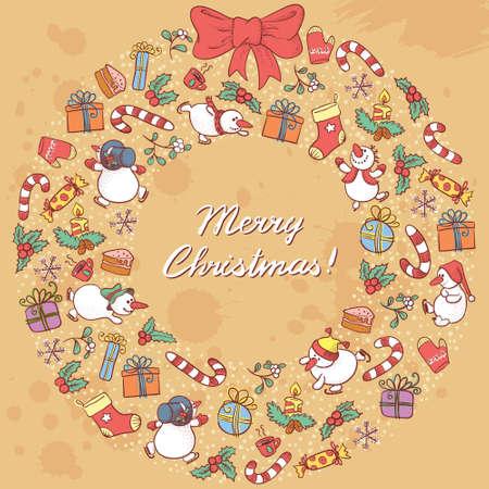 Cute doodle Christmas wreath Stock Vector - 16463850