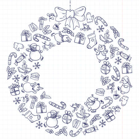 Cute doodle Christmas wreath Vector
