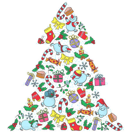 Cute isolated Christmas tree shape Stock Vector - 16503864