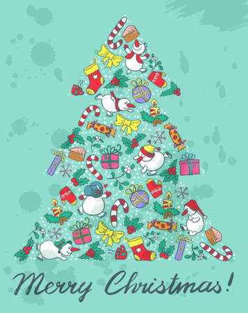 Cute Christmas tree shape with grunge background Vector