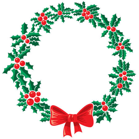 Isolated Christmas holly wreath Stock Vector - 16659310