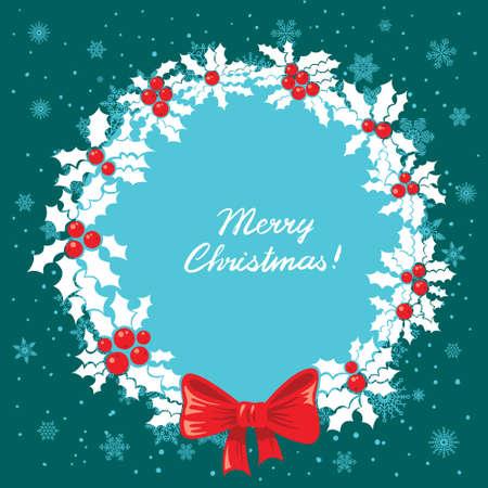 Christmas card with holly wreath Stock Vector - 16659309