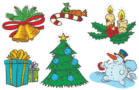 Cute Christmas stuff set Vector