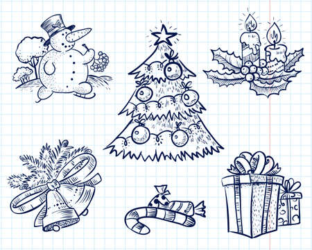tree outline: Christmas doodles set