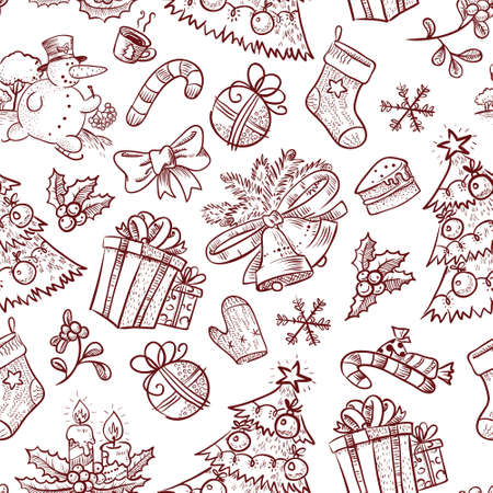 Hand-drawn Christmas seamless with Snowman Vector