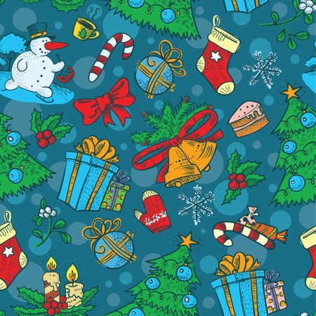 Cute Christmas seamless with Snowman Vector