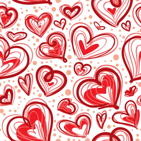 Cute valentine's seamless pattern with hearts Stock Vector - 17247872