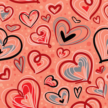 Cute valentine's seamless pattern with hearts Stock Vector - 17247884