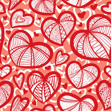 Cute valentine's seamless pattern with hearts Stock Vector - 17247887