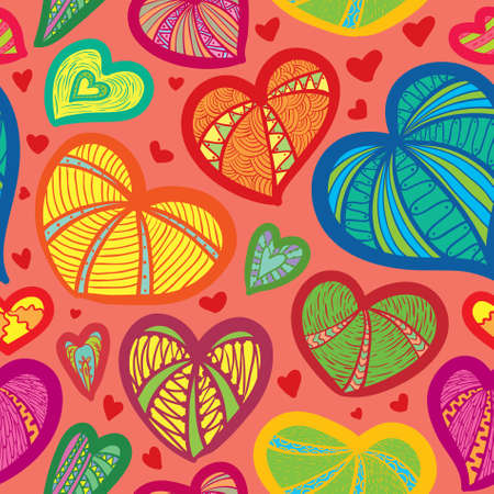 Cute valentines seamless pattern with hearts Ilustracja