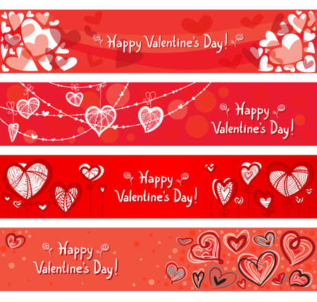 Cute valentines day banners set Vector