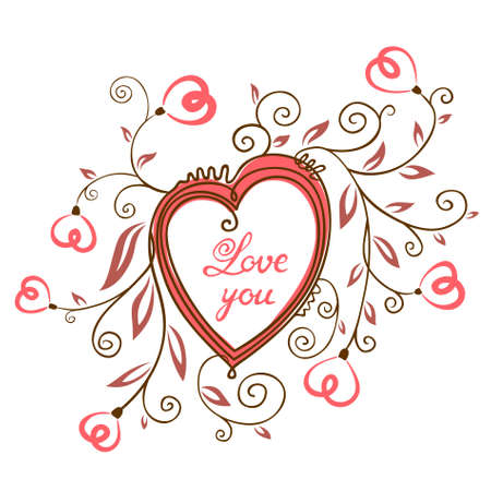 Valentine's Day Cute Card with floral heart Stock Vector - 17313658
