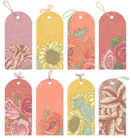 Vintage floral tags set Stock Vector - 17931612