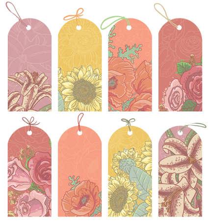 Vintage floral tags set Stock Vector - 17931612