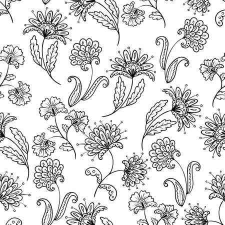 Floral line-art seamless pattern