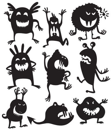animated alien: Silhouettes of cute doodle monsters Illustration