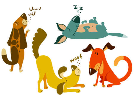 Cute dogs set.  Vector