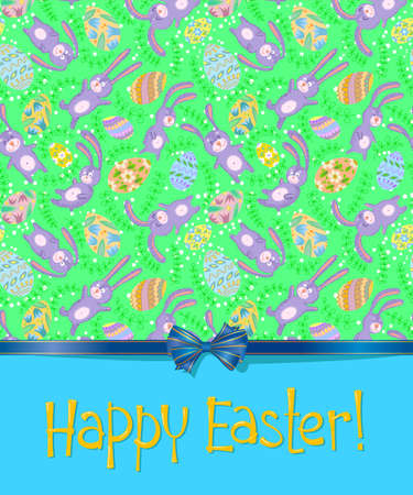 Cute Easter card with bunny Vector