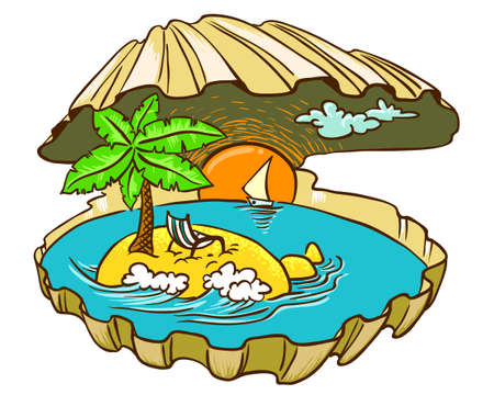 Tropical island paradise in the shell, color version Vector
