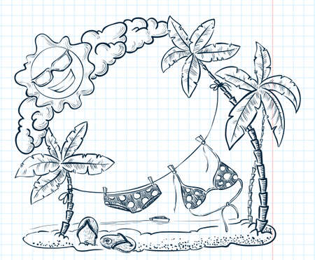 Cute doodle tropical beach frame Vector