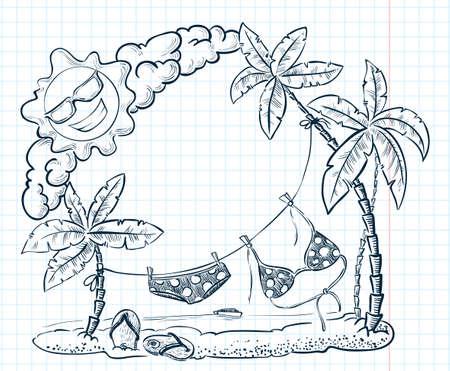 cute doodle: Cute doodle tropical beach frame