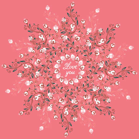 love shape: Floral round lace vector round Illustration