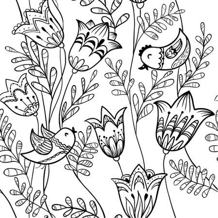 black bird: Floral black and white seamless pattern