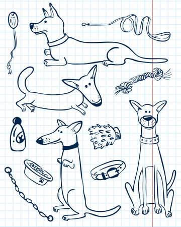 dog leash: Cute doodle dogs set