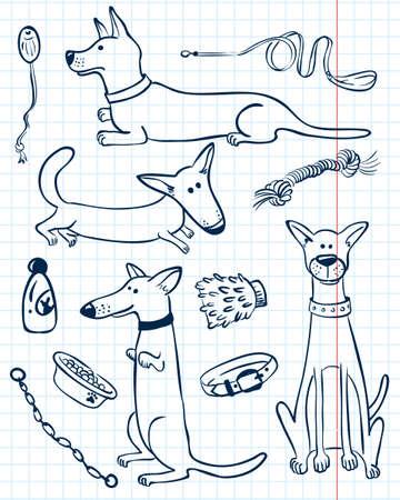 dog on leash: Perros lindos del doodle set Vectores