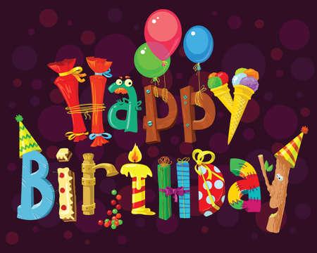 verjaardag ballonen: Gelukkige kaart van de Verjaardag