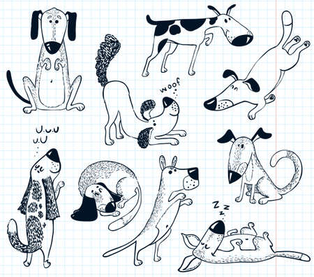 Doodles with cute dogs Vector