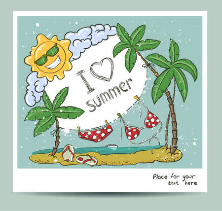 Vintage summer vector card Vector