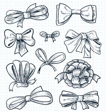 Doodle cute bows set 向量圖像