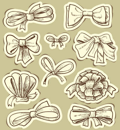 hand knot: Vintage bows set Illustration