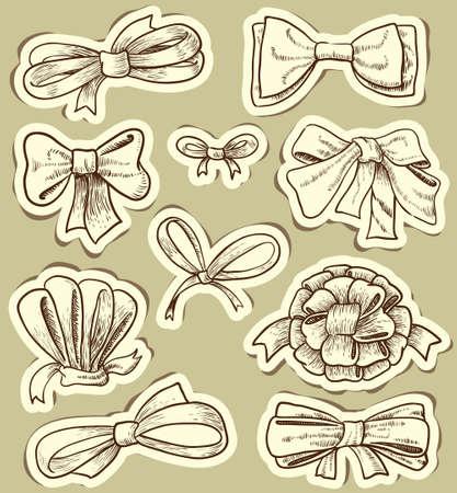 Vintage bows set Ilustracja