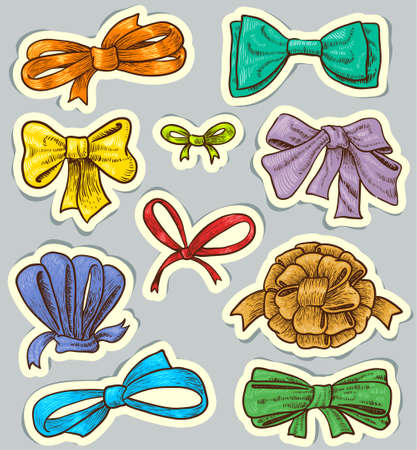 hand knot: Vintage colorful tags with bows