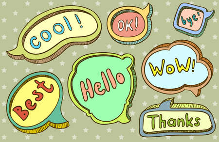 speech marks: Cute doodle  hand-drawn speech bubbles Illustration