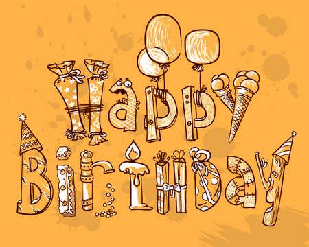 Happy Birthday grunge line-art card Vector
