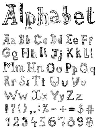and comma: Hand-drawn doodle sketching alphabet