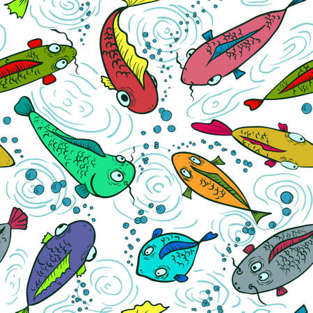 Colorful fish seamless background Stock Vector - 20220917