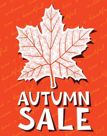 marple: Autumn sale background with marple leaf shape Illustration