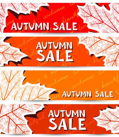 marple: Autumn banners set with marple leaf shape