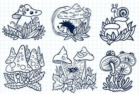 Cute doodle mushrooms autumn set Stock Vector - 21058421